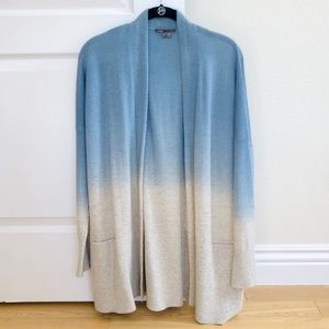 NWOT Wool cashmere ombré blue cream cardigan